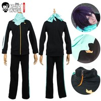 HSIU High Quality Anime Noragami Yato cosplay wig and costume Free Shipping(Jackets+Pants+Scarf+Wig)Suit Sportswear Whole Set