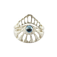 Window Ring with Blue Topaz