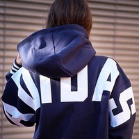 Adidas Originals Hooded Velvet Pullover Hoodie - Back Adidas Big Logo