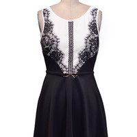 Lace Detail Dress With Gold Bow Belt - Black