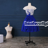 royal blue short lace top homecoming dress,2015 short prom dresses,mini dress,short party dress gowns,cocktail dress,cute sweet16 dresses