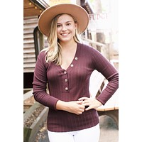 Button Neckline Sweater, Eggplant