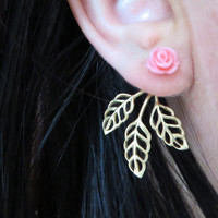 Brass Leaf Vine Pink Rose Bud Ear Jackets Earring Stud Post Gold Split Front Back In Out Peekaboo Rosebud Jewelry
