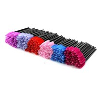 EZGO 300 Pack Multicolor Disposable Eyelash Mascara Brushes Wands Applicator Makeup Brush Kits, 6 Colors