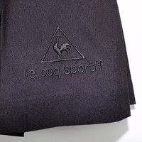 """vintage Le Coq Sportif short black pleated tennis skirt - 80s / 90s - embroidered logo - 25"""" - 26""""  waist - size 6"""