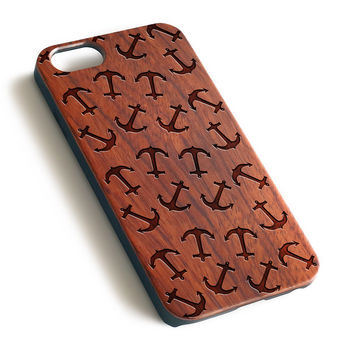 Anchor Natural wood handmade precise laser engraved iPhone 7 6 6S Plus case WA001