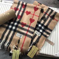 Burberry Classic Check Printed Heart Cashmere Scarf