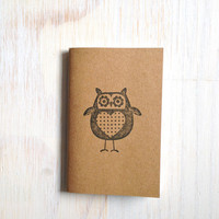 Small Notebook: Owl Notebook, Brown, Fall, Jotter, Cute, Kids, Gift, Unique, Journal, Stamped, Cute Notebook, Stocking Stuffer, K100