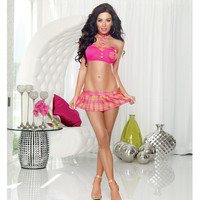 4 Pc Teacher's Pet Strapless Top, Necktie, Plaid Skirt W-thong Hot Pink O-s