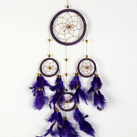Purple Feather And Circle Drop Dream Catcher