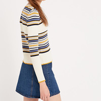 Cooperative by Urban Outfitters Ribbed Long Sleeve Striped Top in Mustard - Urban Outfitters