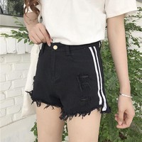 High Waist Denim Shorts for Women summer Striped Jeans Short Vintage Casual Femme Short Jeans Mujer WS6215