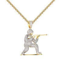 "Cover Fire Army Man Pendant Shooting Iced Out 14k Gold Tone Lab Diamonds 24"" Chain"