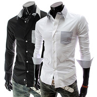 Long Sleeve Shirt with Color Accented Pocket