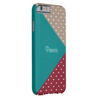 Monogram Blue, Red. Brown Polka Dots, Color Block Barely There iPhone 6 Case
