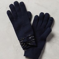 Jeweled Bow Gloves by Anthropologie in Navy Size: One Size Gloves