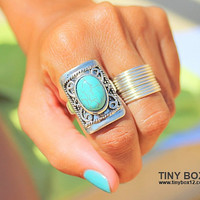 Big Bold Statement Ring, Stone Ring, Turquoise Ring, Cocktail Ring , Big Ring, Oversized Ring - native Ring - Turquoise - Turquoise Jewelry