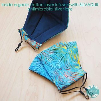Antimicrobial 3D Face Mask + Adjustable Loops ~ Blue Ocean Waves
