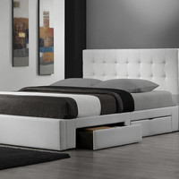 King size Modern Storage Platform Bed in White Faux Leather