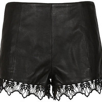 Rag & Bone black leather and crochet-knit shorts