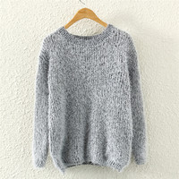 Womens Gray Mohair Knit Sweater