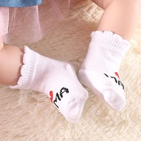 Lovely Soft Baby Socks born Toddler Infant Kids Girls Boys Stripe Cotton Love Mama Papa Socks