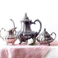 Vintage Reed Barton HOLIDAY Silver Plate, 3Pc Coffee or Tea Set, Teapot, Sugar, Creamer