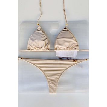 Liliana Montoya Swim Bikini Brasilerita Creamy Nude Shimmer Triangle Top & Micro Thong Bottom