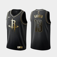 Houston Rockets #13 James Harden Black Gold Jersey - Best Deal Online