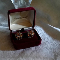 Delightful Dainty Antique Victorian Citrine Colored Faceted Oval Crystals and Clear Crystals cross shaped Gilt  Screw Back Earrings