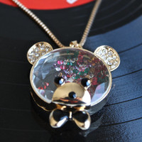 Super Cute Bear Diamond Container Pendant With Colorful Small Diamond Inside. Long Gold Metallic Pendant Necklace For Young Teenage Girls.