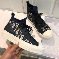 DIOR Popular Women Casual High Top Sneakers Sport Shoes