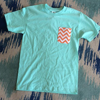 Simply Southern Pocket Tee Mint - Orange Chevron