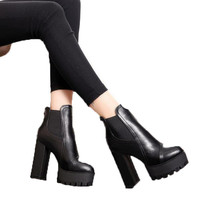 Ankle Zipper Square Heel Boots