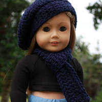 beret style crochet slouch hat with infinity scarf, navy sparkle, 18 inch doll clothes American girl Maplelea