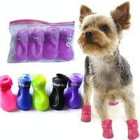 Four season waterproof pet fashion shoes dog and cat's rain boots Rubber Anti Slip Skid puppy Shoes Candy Colors and protect pet's paws = 1958553412