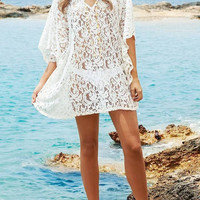 White Beach Lace Cover-up