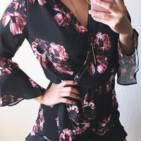Here Comes the Sun Floral Plunging Romper