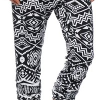 See You Monday Black & White Tribal Jogger Pants