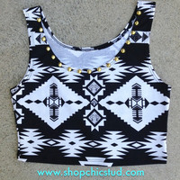 Studded Crop Top Tank - Black & White Tribal Print - Gold or Silver Circular Studs -