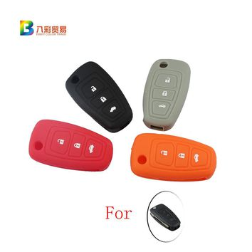 For ford focus 2 3 Fiesta Hatch Ranger Escape Fusion Kuga Transit car flip key FOB silicone case cover skin protect accessories
