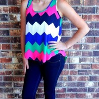 Chevron Top With Pleated Keyhole Back