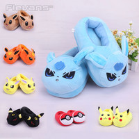 Anime Cartoon Pokemon Elf Ball Pikachu Eevee Umbreon Plush Shoes Home House Winter Slippers for Children ANSE023