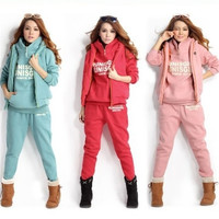 Ladie Sports Suit Tracksuit Hoodie Hooded sweater + vest + pant TOP Fashion Casual Set = 1705653764