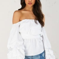 Off The Shoulder Wrap Top in Black and White
