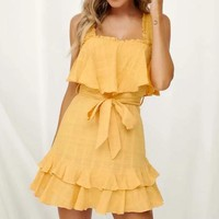Casual Ruffles Dress Yellow Women Sleeveless Sexy Square Collar Backless Short Beach Party Sundress Elegant Dress