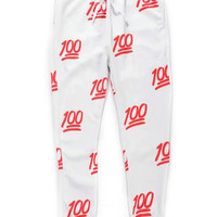 Red 100 Emoji Jogger Pants
