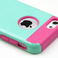 iPhone 5C Case, iPhone 5C Cases, iPhone 5C Case Cover, ULAK(TM) Hybrid Rubber Rugged Combo TPU + PC 2-Piece Style Hard Case Cover for iPhone 5C with Screen Protector and Stylus (Light Blue+Hot Pink)