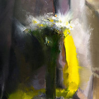 Contemporary Oil Painting on Canvas, Still life with flowers in a vase, White flower painting, Floral artwork