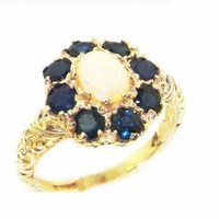 Solid English Yellow 9K Gold Womens Large Opal & Sapphire Art Nouveau Ring - Size 8.5 - Finger Sizes 5 to 12 Available - Suitable as an Anniversary ring, Engagement ring, Eternity ring, or Promise ring